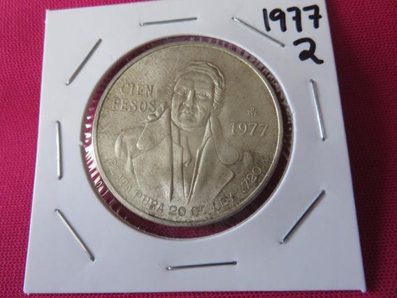 100 Peso Morelos 1977 Plata Ley .720