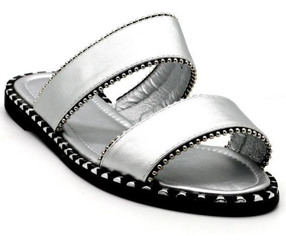 Zapatos Sandalias Mujer Dama Bajas Urbanas Plata Leblu Z149