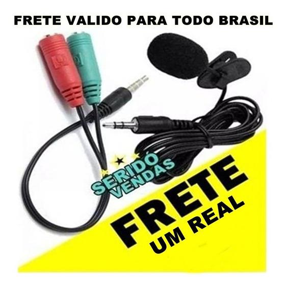 Kit Microfone De Lapela + Adaptador Para Celula Frete 1 Real