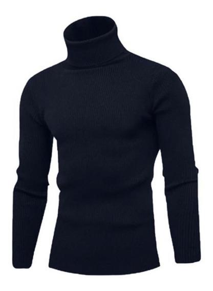 Blusa Masculina Canelada Gola Alta Frio Intenso Estilo