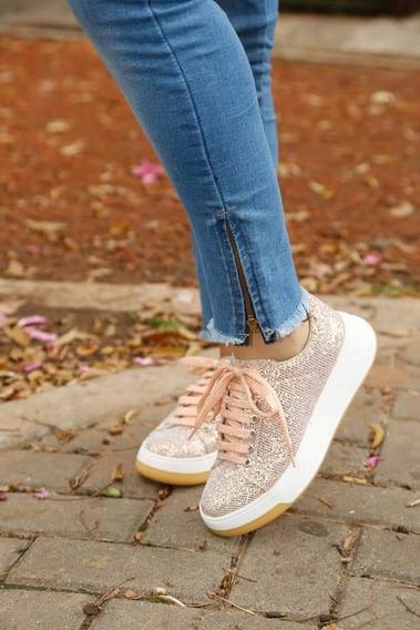 Zapatillas Importadas Brillosas Plataforma Comoda Goma