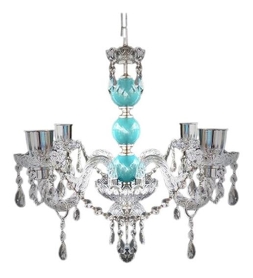 Araña Colgante De 4 Luces Vidrio Y Ceramica Diseño Exclusivo