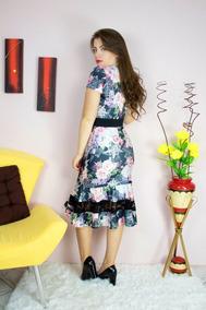 Vestido Sino Estampado Moda Evangélica Layca Go18