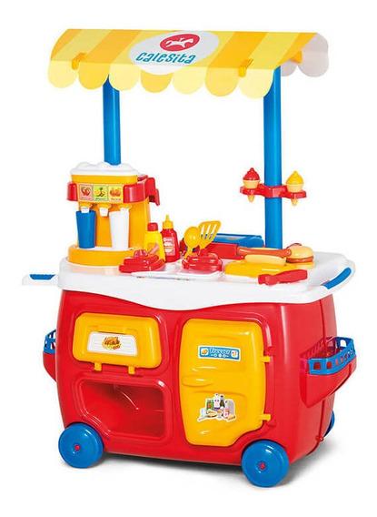 Mini Carrinho De Lanchonete Completa Infantil Calesita 352