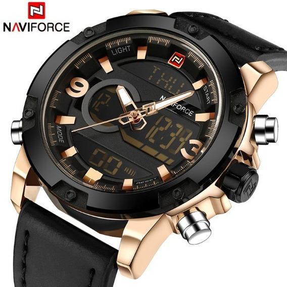 Relógio Masculino 9097 Naviforce Calendário Pulso Couro