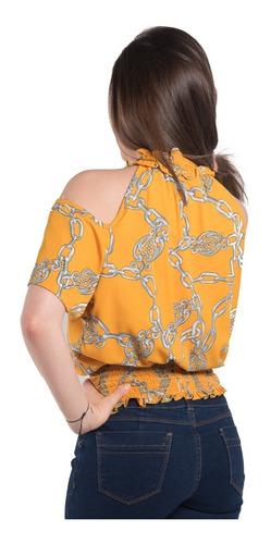 Imagen 1 de 2 de Blusa Estampada Hombro Descubierto Con Cuello Alto