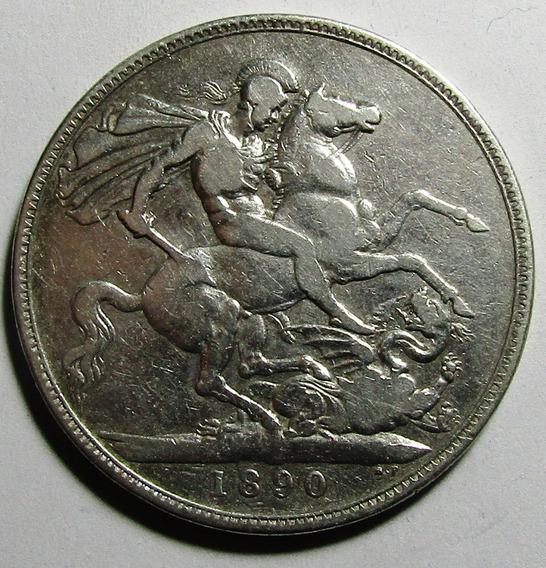 Inglaterra Moneda 1 Crown 1890 Vf- Km#765 Reina Victoria