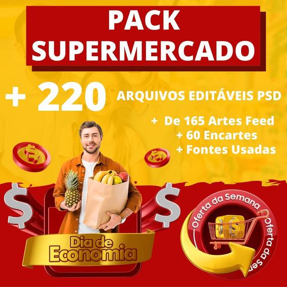 Pack 220 Artes Supermercado Cartaz/panfleto/encarte Em Psd