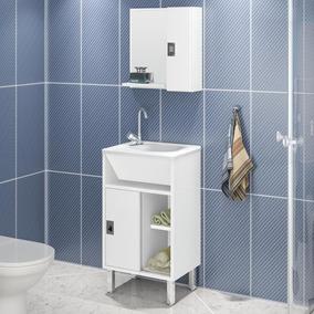 Gabinete P Banheiro C Pés E Tampo 44cm - Branco Brilho