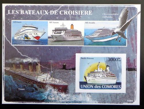 Comores Barcos, Bloque 1 Sello Titanic 2008 Mint L9353
