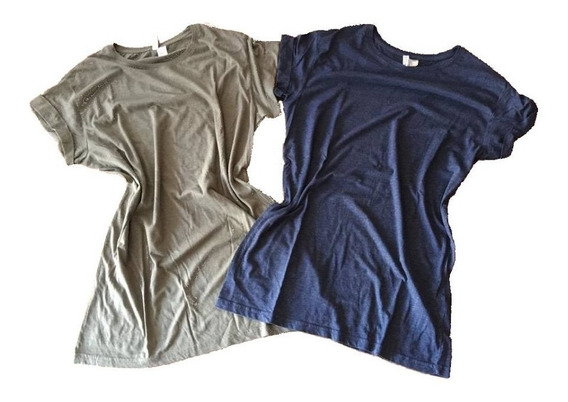 Remera Azul O Verde Melange Larga Importadas Divided H & M