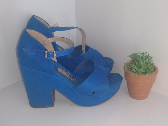 Sandália Azul Salto Alto Grosso