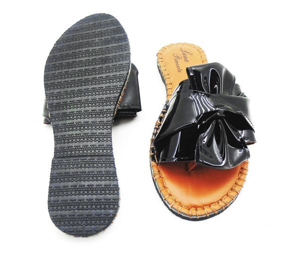 Sandália -laço-preto-verniz Lp 100