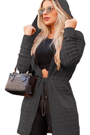 Cardigan Feminino Em Tricot La Capuz Bolso Coleção Inverno