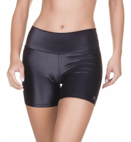 Shorts Cirre Plus Size Cintura Alta Brilho Couro Lycra