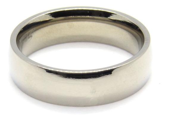 Anillo De Titanio Plateado Diseño Argolla De Matrimonio 6 Mm