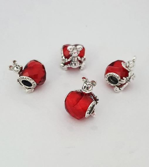 Charm Mickey Love Heart Plata S925 Compatible Pandora