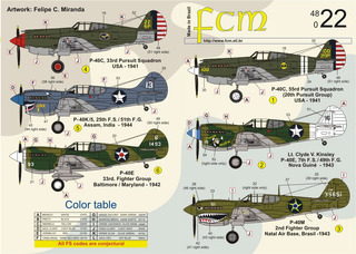 Decalque Curtiss P-40 Fcm 48022 Fab 1/48 P/ Kit Revell Novo!
