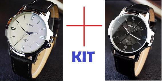 Kit 2 Relógio De Quartzo Yazole Masculino Pulseira De Couro
