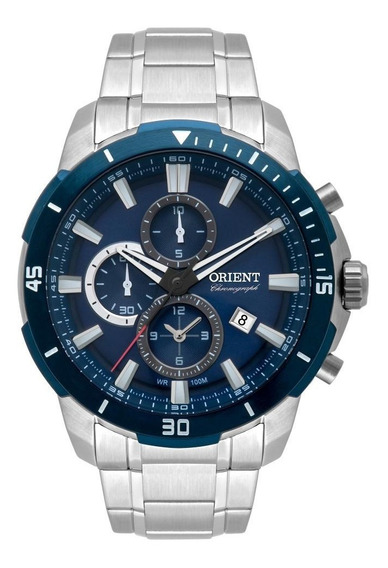 Relógio Orient Cronógrafo Aço Azul Mbssc207 D1sx