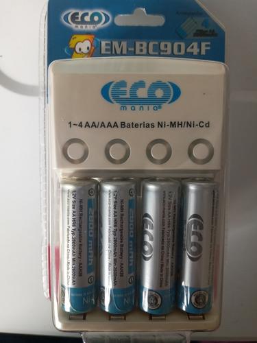 Pilas Baterias Aa Recargables 2800 Mah Eco Mania Y Cargador