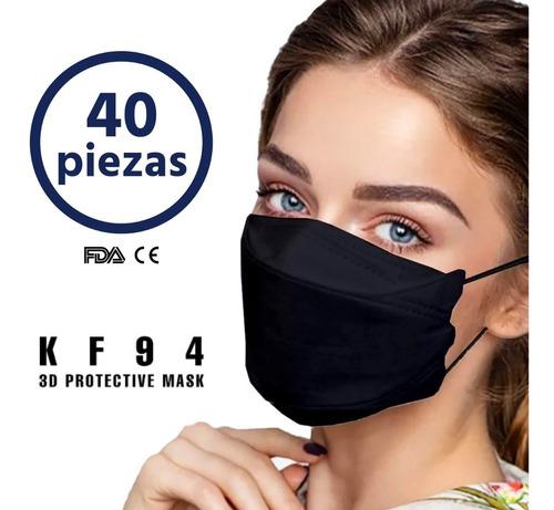 Cubrebocas Kf94 Negro Mascarilla Corea Original 40 Pz
