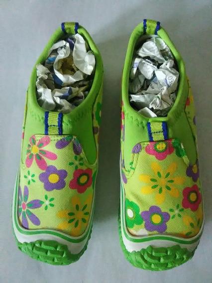 Zapatos Para Niñas Color Verde Tallas 32 Y 33 Solamente .