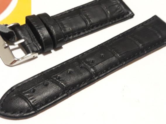 Pulseira 20mm Modelo Tommy Preta Couro Croco - Ótima
