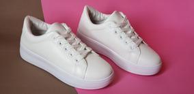 Zapatillas Plataforma Baja, Blancas