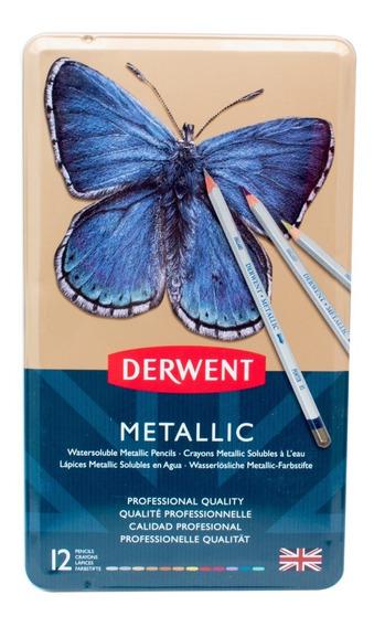 Caja Metal Lápices Madera Metallic Derwent Colores Metálicos
