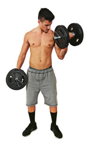 Kit Musculação 2 Barras Halteres + 32 Kg Anilhas Em Pvc