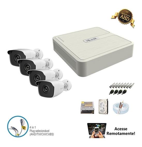 Kit Sistema De 4 Câmeras Completo 4 Canais Ahd Hilook