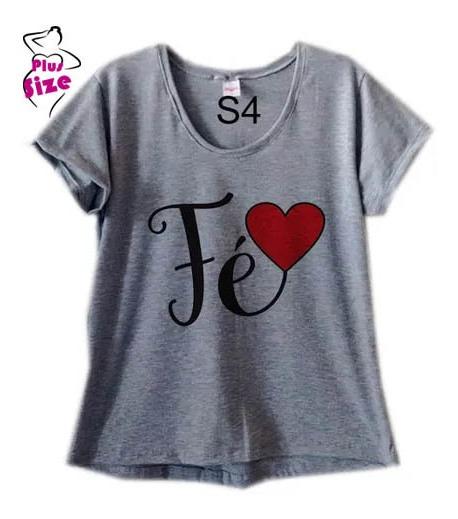 Blusa Feminina Cinza Plus Size Fé Coração S4
