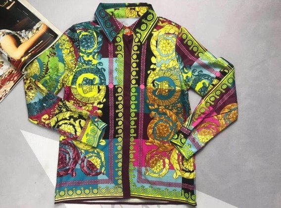 Conjunto Versace Estampa Barroca/camisa E Short