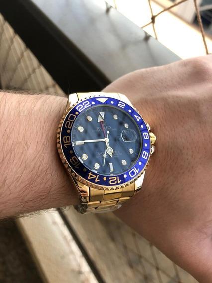 Relógio Rolex Gmt Banhado A Ouro Aro Azul Novo