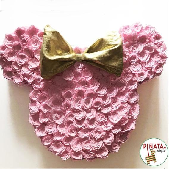 Piñata Minnie Rosa Y Dorado Detalle De Flores