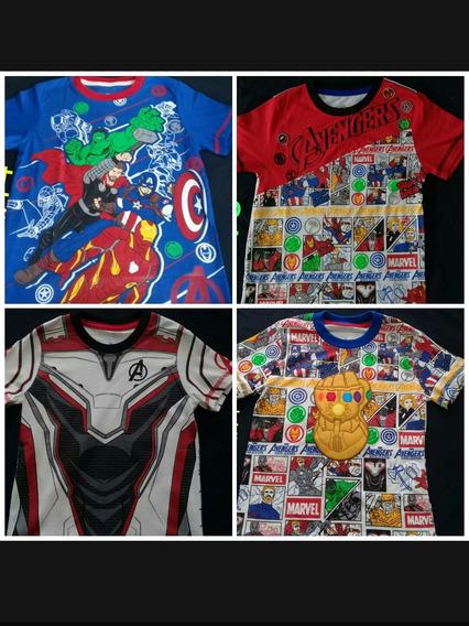 Franelas Superheroes Niños Capitan Superman Spiderma Batman