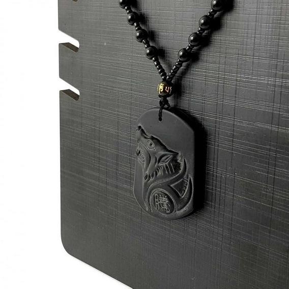 Colar Masculino Obsidiana Lobo Fosco Preto Terço Budista