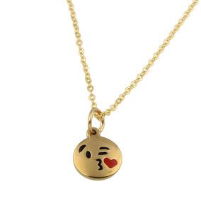 Colar Feminino Emoji Beijo Folheado Ouro 18k Black Friday