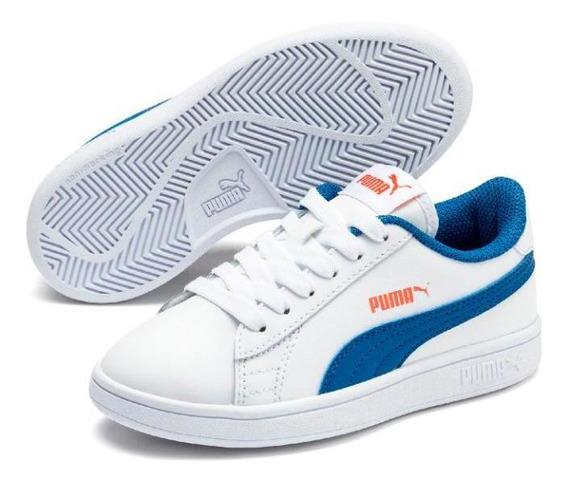 Zapatillas Puma Smash V2 L Nene Moda Blanca-azul