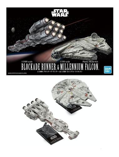 Imagen 1 de 3 de 1/1000 Blockade Runner & 1/350 Milennium Falcon Bandai