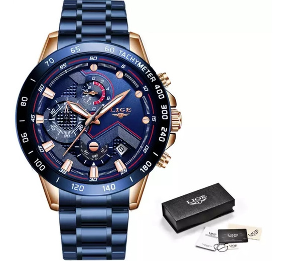 Relógio Masculino Lige 9821 Resistente A Água