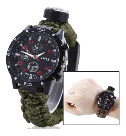 Relógio Sobrevivência Tático Paracord Pederneira1
