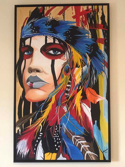 Tela Índia Americana Cocar - Pintura De Óleo Obra De Arte