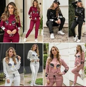 Conjunto Moletom Feminino Roupa Inverno 2019 Gatinha