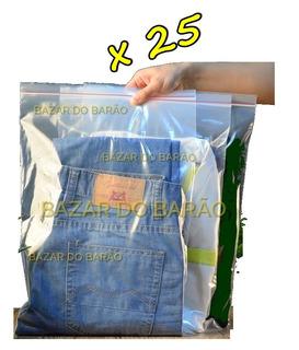 25 Sacos Ziplock Grandes Premium Para Roupas Viagem + Brinde