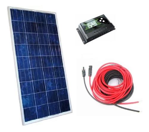 Imagem 1 de 5 de Kit Painel Solar Placa Célula Fotovoltaica 150w + Acessórios