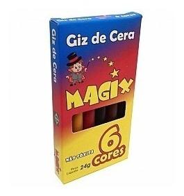 Giz De Cera 6 Cores - 60 Unidades Para Kit De Colorir