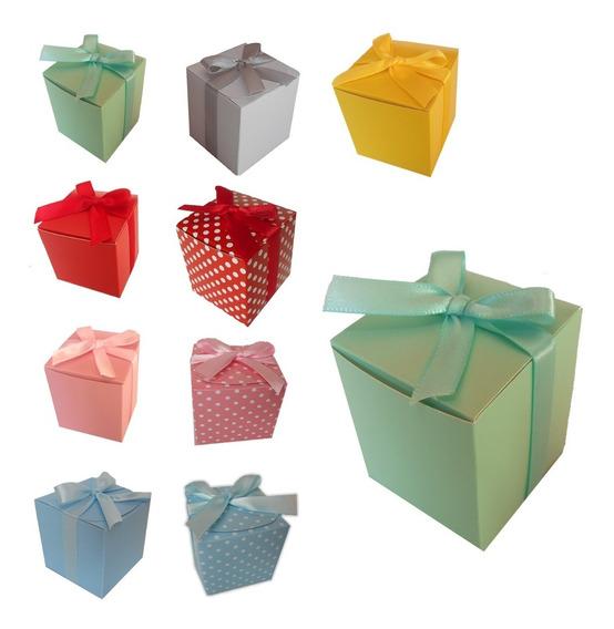 Pack 10 Caja Cajita Cubo Carton Recuerdos Dulces Colores 5cm
