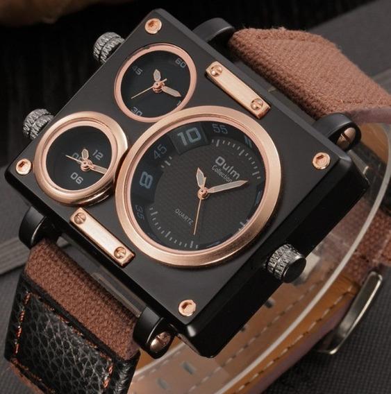 Relógio Masculino Aço Quadrado Militar Oulm Triplo X Marrom